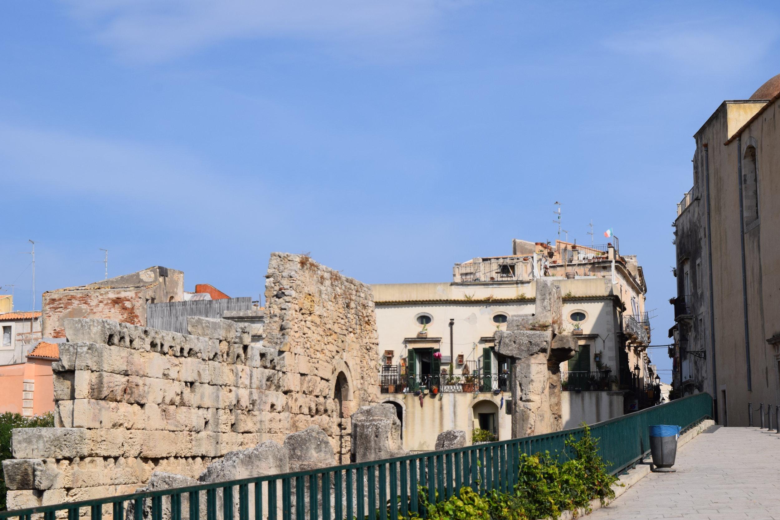 The Temple of Apollo ruins in Ortigia