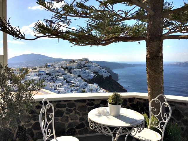 The terrace from our Santorini AirBnB