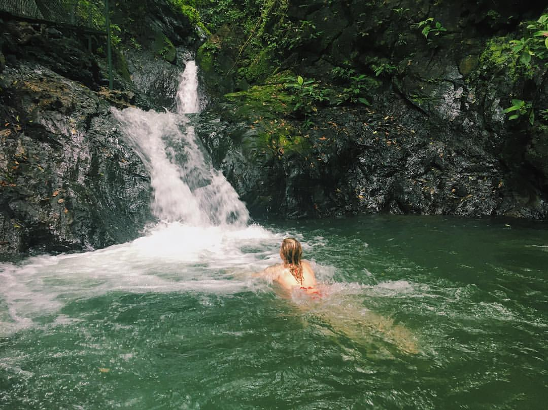 Swimming in waterfalls in the rainforest