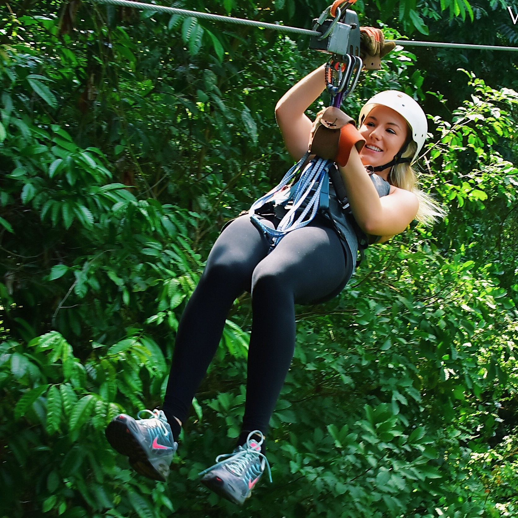 Zip-lining through the rainforest