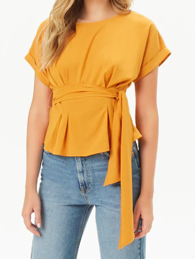 Forever 21 Belted Top-Stitch Dolman Top