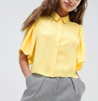 ASOS Cropped Soft Shirt with Flutter Sleeve
