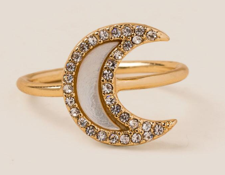 Selene Pearl Moon Ring $16.00