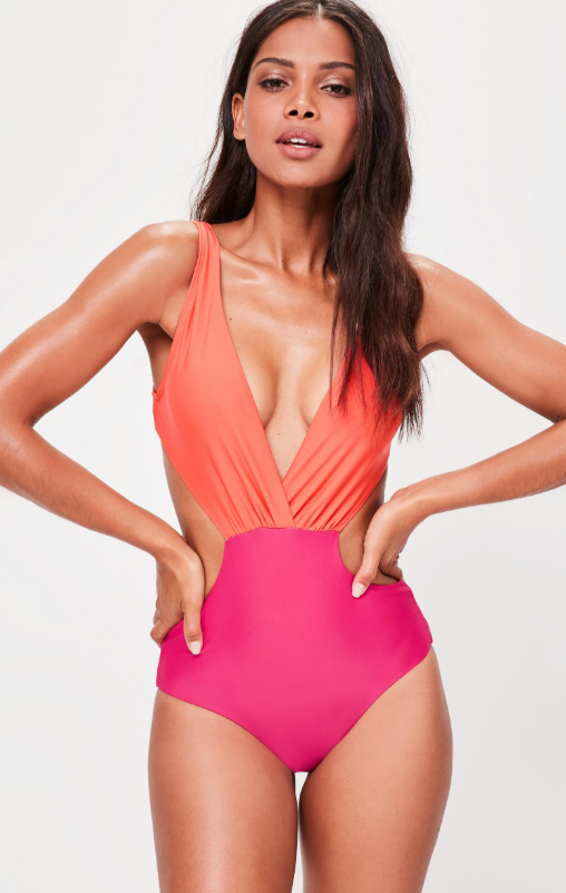 Pink Cut Out Tie Back Swimsuit $38.00