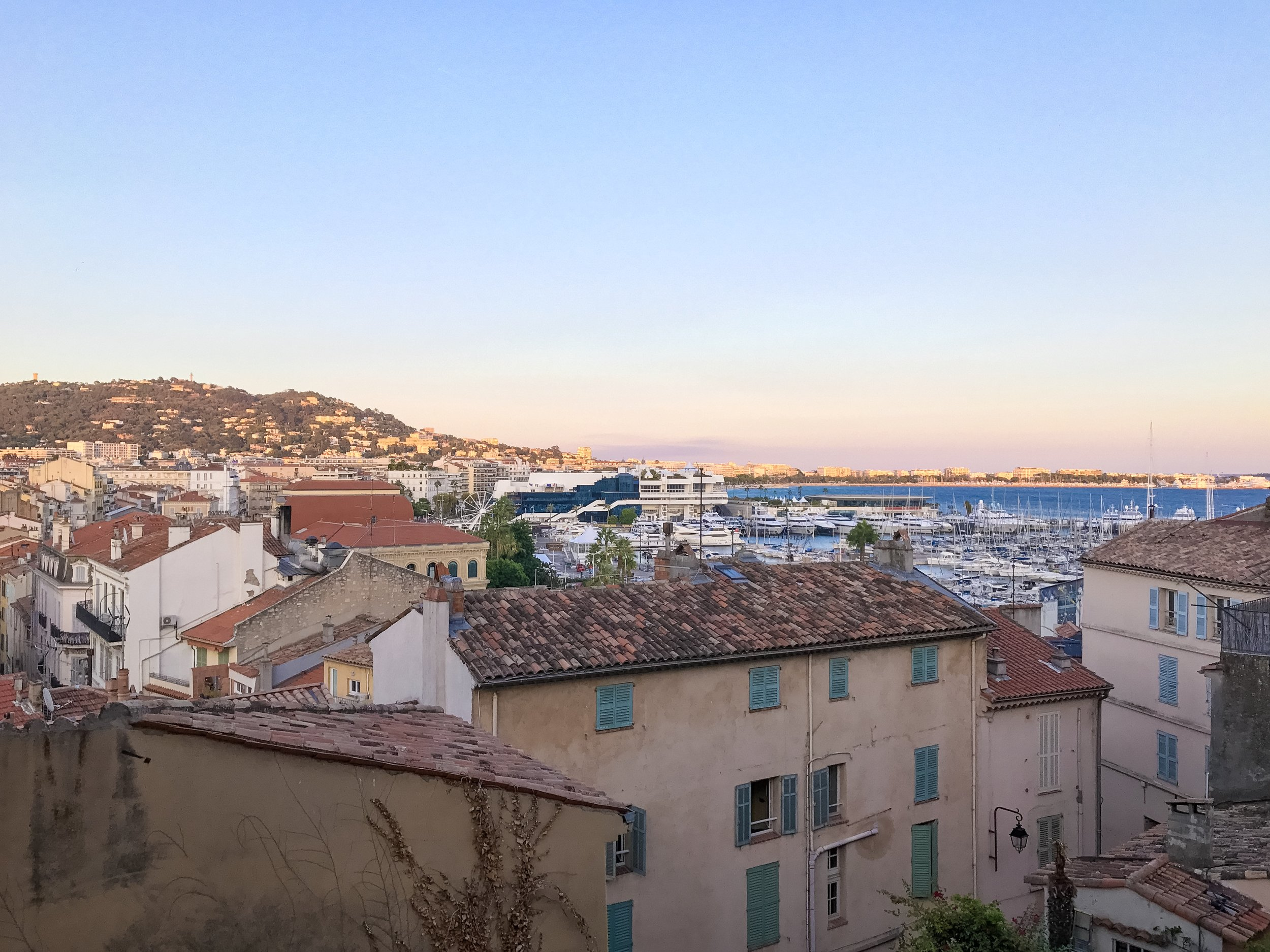 Watching the sunset from our Airbnb in Cannes