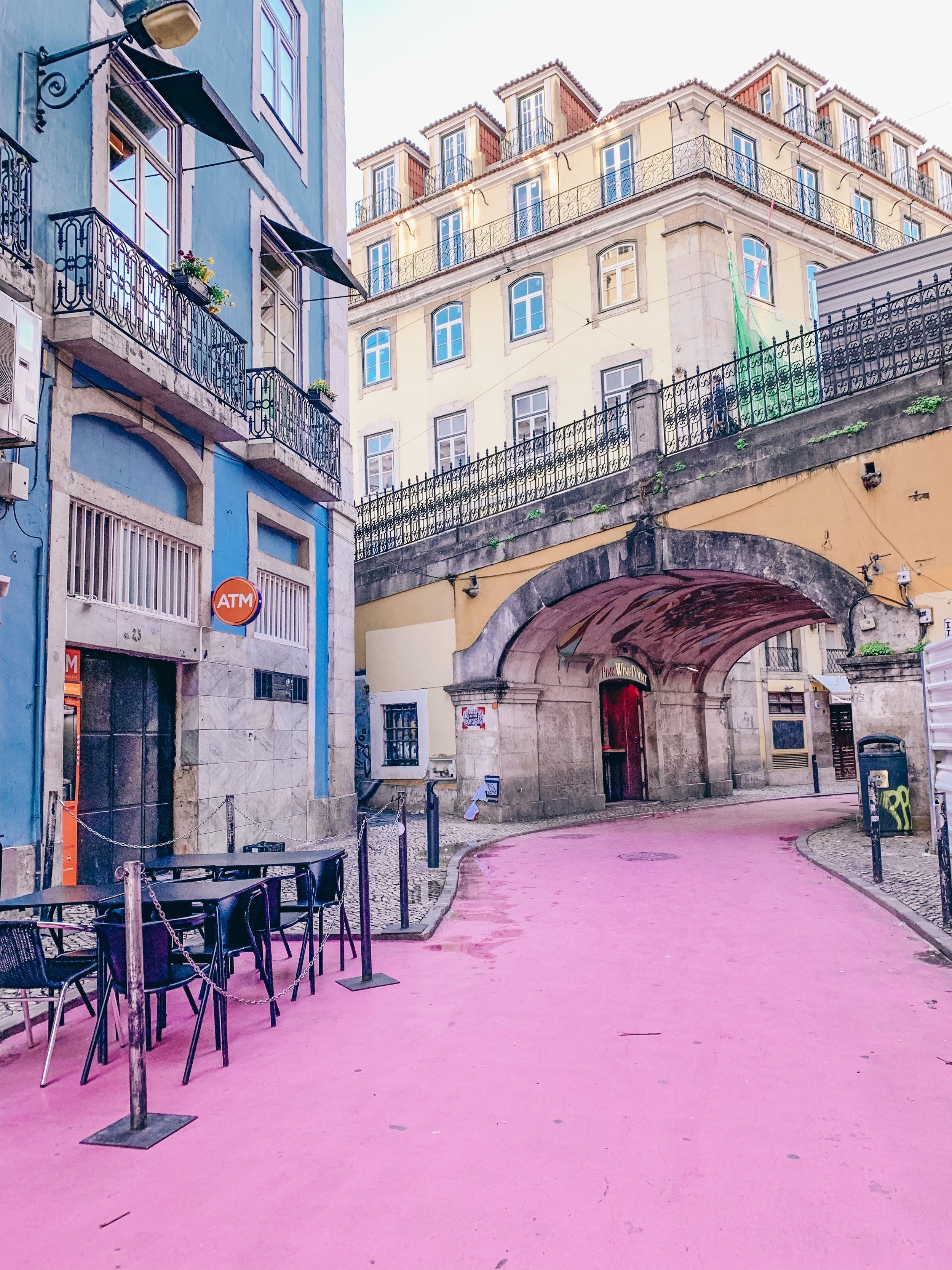 Rua Cor de Rosa (pink street) in Cais do Sodre neighborhood