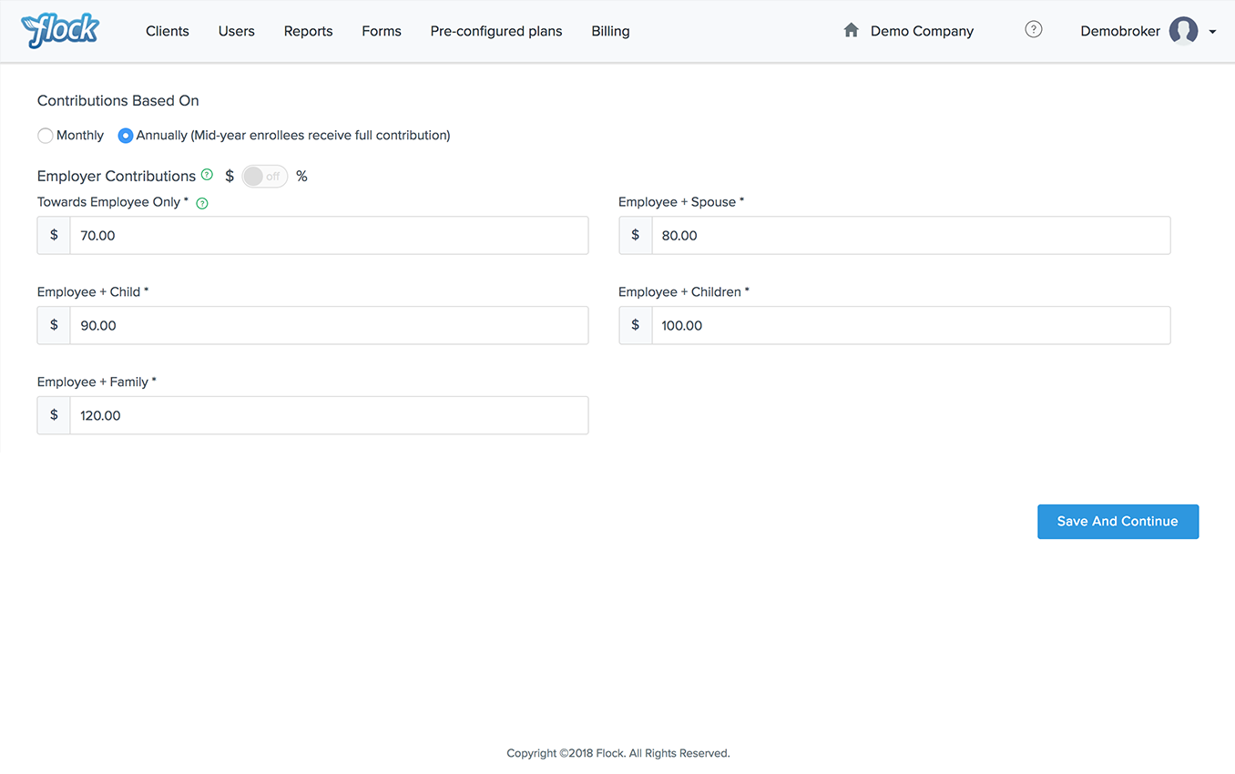 Flock Product Representation for FSA/HSA: simplified contribution calculations
