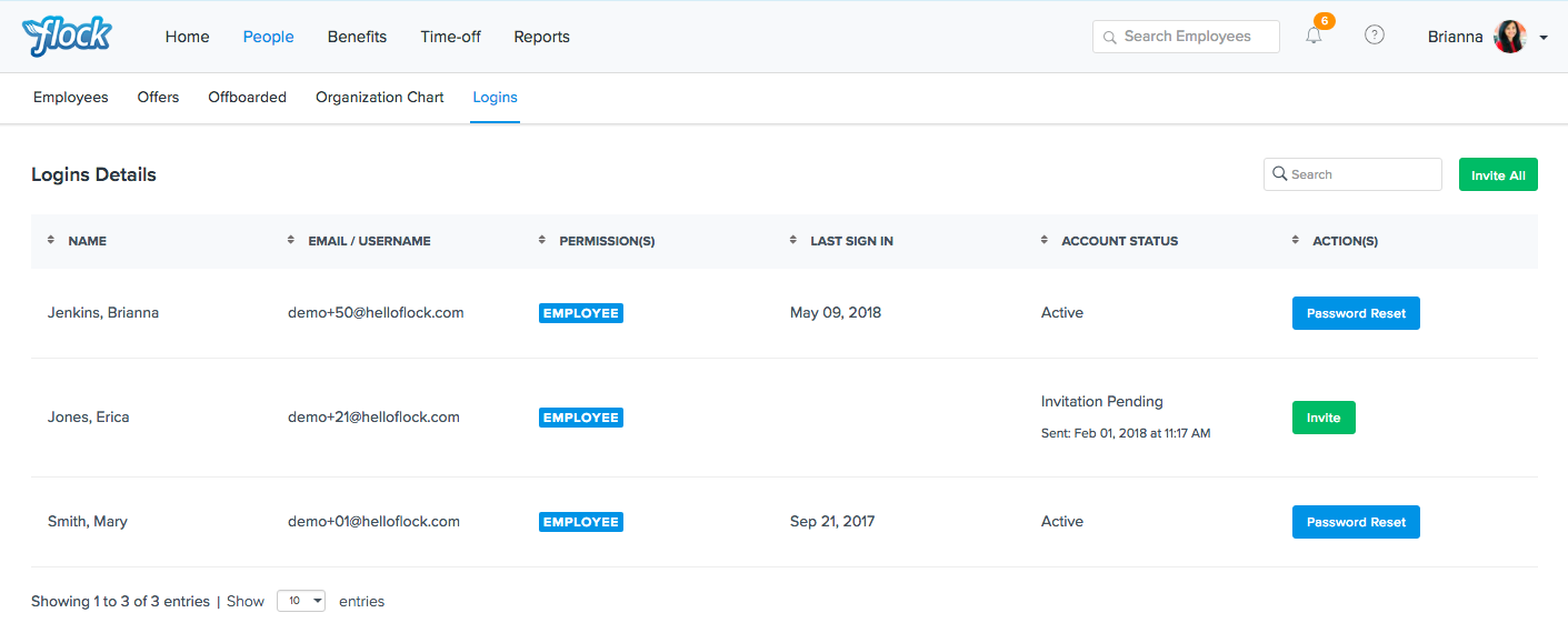 Flock Product Representation for Updated Admin Logins Page