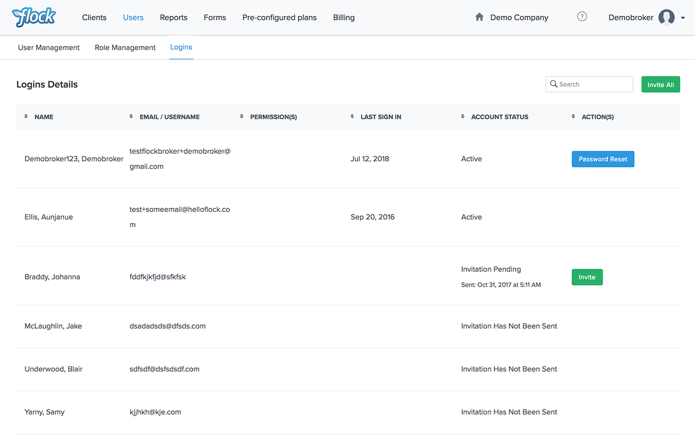 Flock Product Representation for new Broker Logins Page