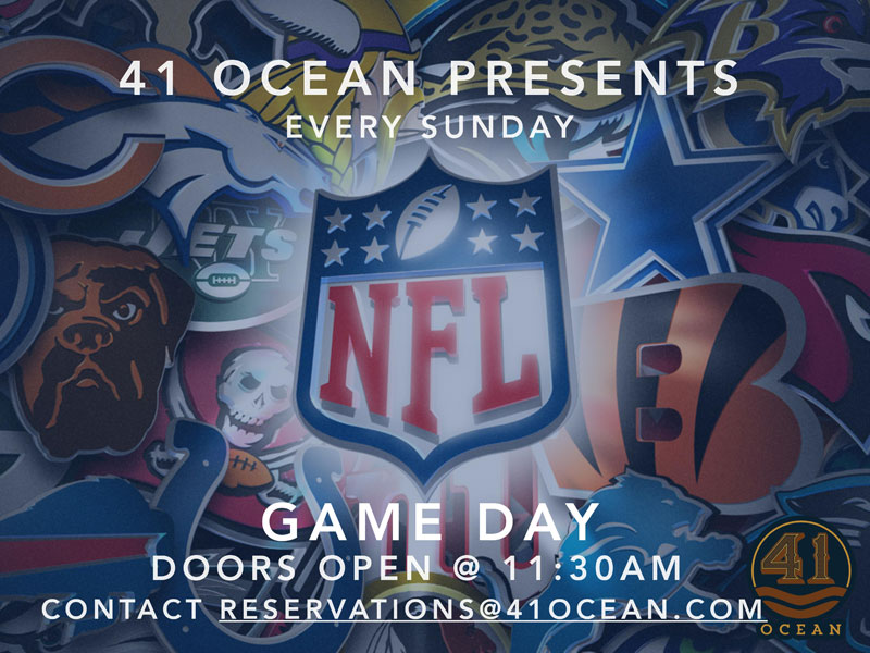 The 41 Ocean Sports Lounge...   41 Ocean's new Fall programming includes an elevated Sports Lounge experience. Every Sunday we will be broadcasting NFL Games in the revamped lounge with fifteen HD plasma screens throughout the outdoor patio and indoor main room. Plus, the venue is broadcasting all World Series and major sporting event playoffs. 41 Ocean takes the typical Sports Bar experience to a new level with Game Day Gasto Menus, craft cocktails, and private rooms available for rent. For more info and reservations, contact reservations@41ocean.com or call us at (310) 566-3870.