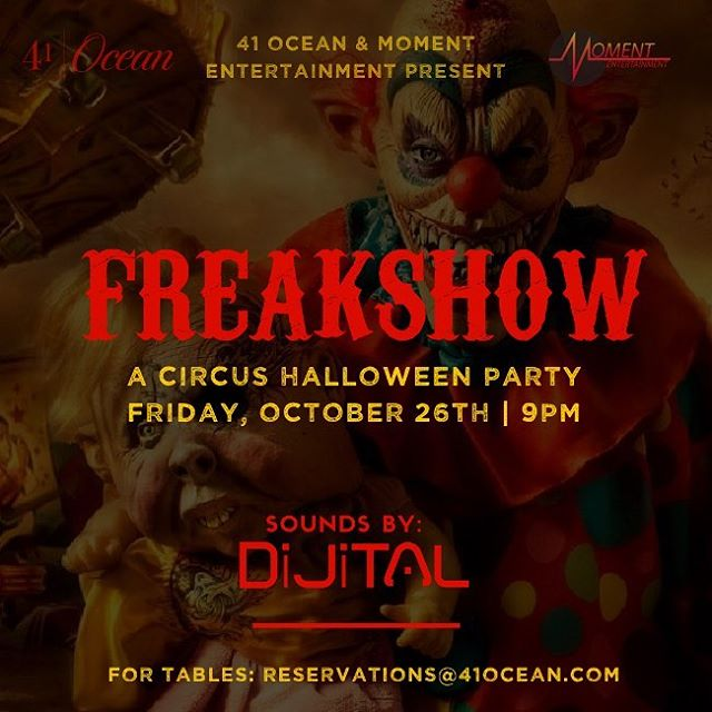 Halloween is right around the corner and we've got some hauntingly hot parties brewing here at #41ocean!  Let your inner freak out on Friday at FREAKSHOW: a circus themed Halloween extravaganza.  Costume Contest & $200 cash prize Drink specials Sounds by @dijital Doors open at 9p  Make Saturday sweet or sinister as angles and demons take the dance floor at Heaven & Hell: a night of mischief.  Costume Contest & $200 cash prize Drink specials Sounds by @djdik Doors open at 8p Tables 📧 reservations@41ocean.com
