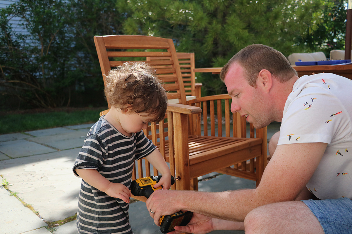 Helping dad put together our new patio set!