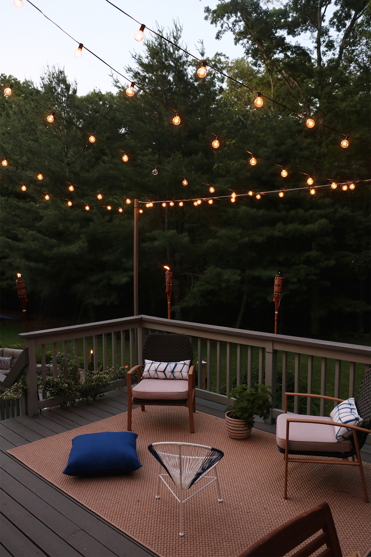 How We Hung Our Back Deck String Lights for Bistro-Style Ambiance | root + dwell
