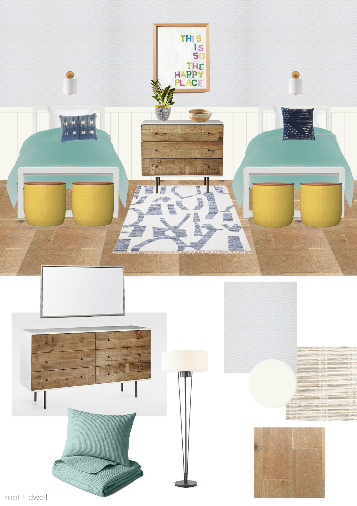 beds  |  bedding  |  sconces  |  wallpaper  |  flooring  |  area rug  |  paint color  |  woven shades  |  standing lamp  |  large dresser  |  small dresser  |  mirror  |  storage ottomans  |  throw pillow 1  |  throw pillow 2  |  artwork  |  plant  |  planter  |  bowl
