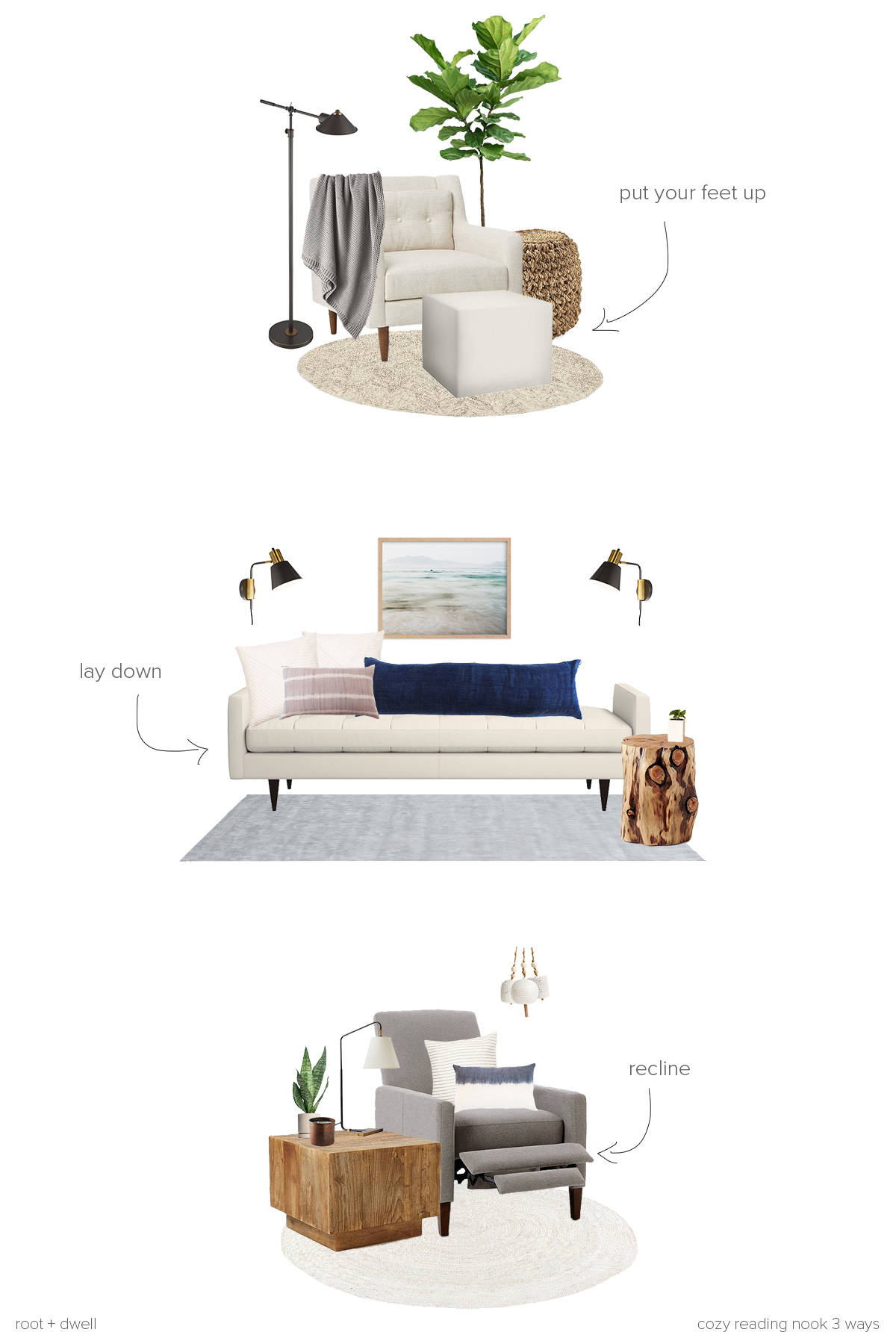 Get the Look: Cozy Reading Nook 3 Ways | root + dwell