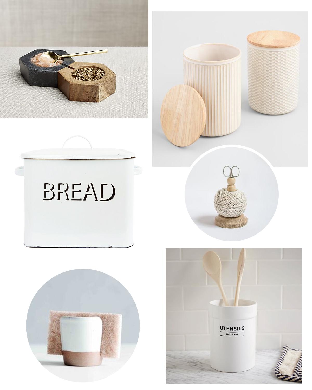 salt + pepper set     ceramic canisters     metal bread box     wood string tidy     sponge holder     utensil holder