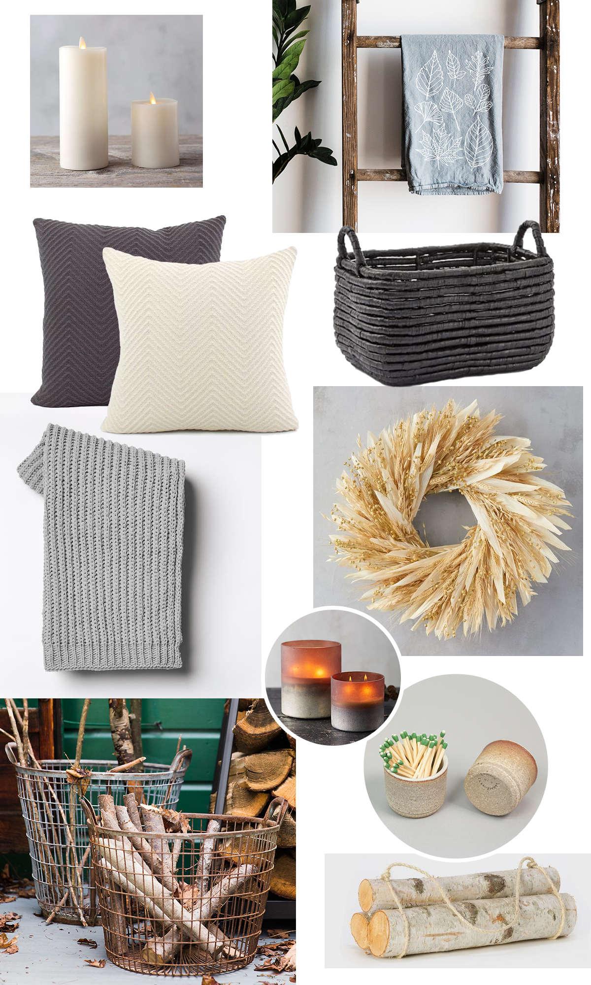 flame effect candles  |  tea towel  |  gray pillow cover  |  cream pillow cover  |  basket  |  throw  |  wreath  |  pumpkin scented candle  |  wire basket  |  match striker  |  birch log bundle