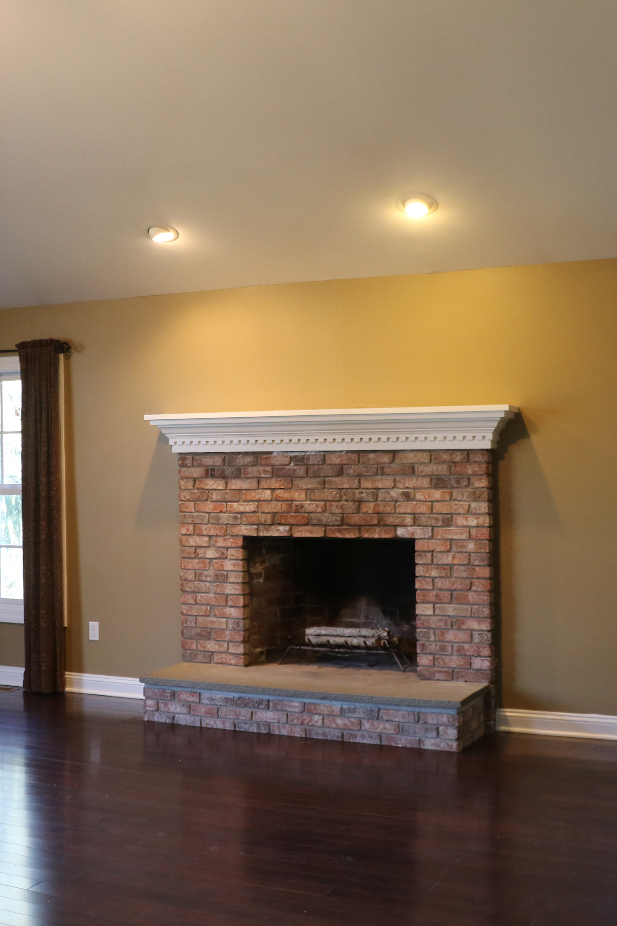 fireplace makeover before