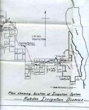Map of Original Water System  Skaha was called 'Dog' Lake
