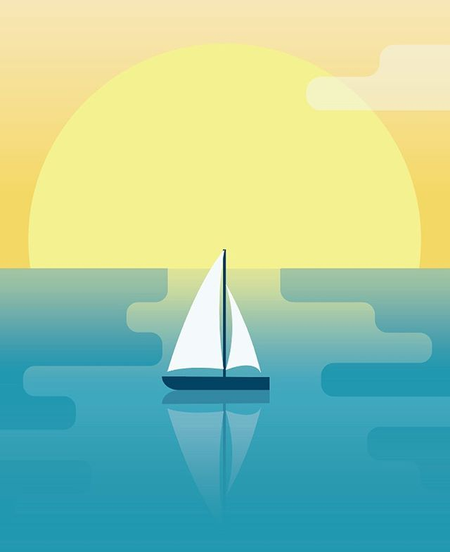 All this snow is nice and everything, but we wouldn't hate if it all melted away. Here's a glimpse at a work in progress for a client who travels all over the world. | #travel #illustration #sailing #ocean #sunset #design #ilustagram
