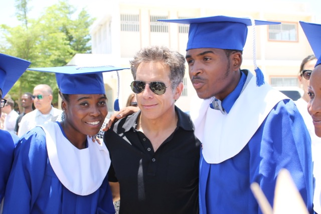 Ben Stiller, a supporter of the Academy since the first block was laid in 2010, poses with graduates.