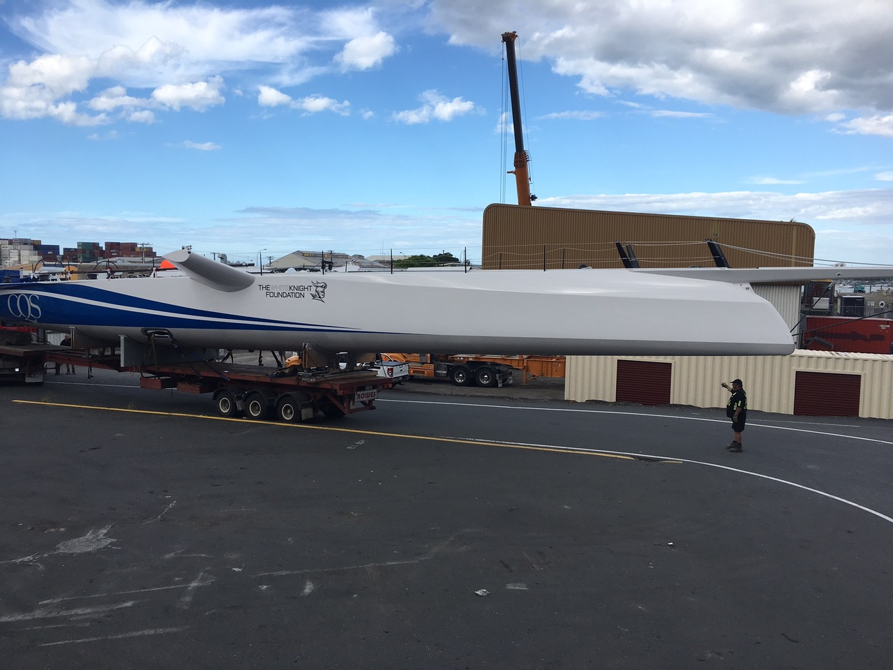 Yacht being lifted on to the truck before being transported to the docks ahead of launch.