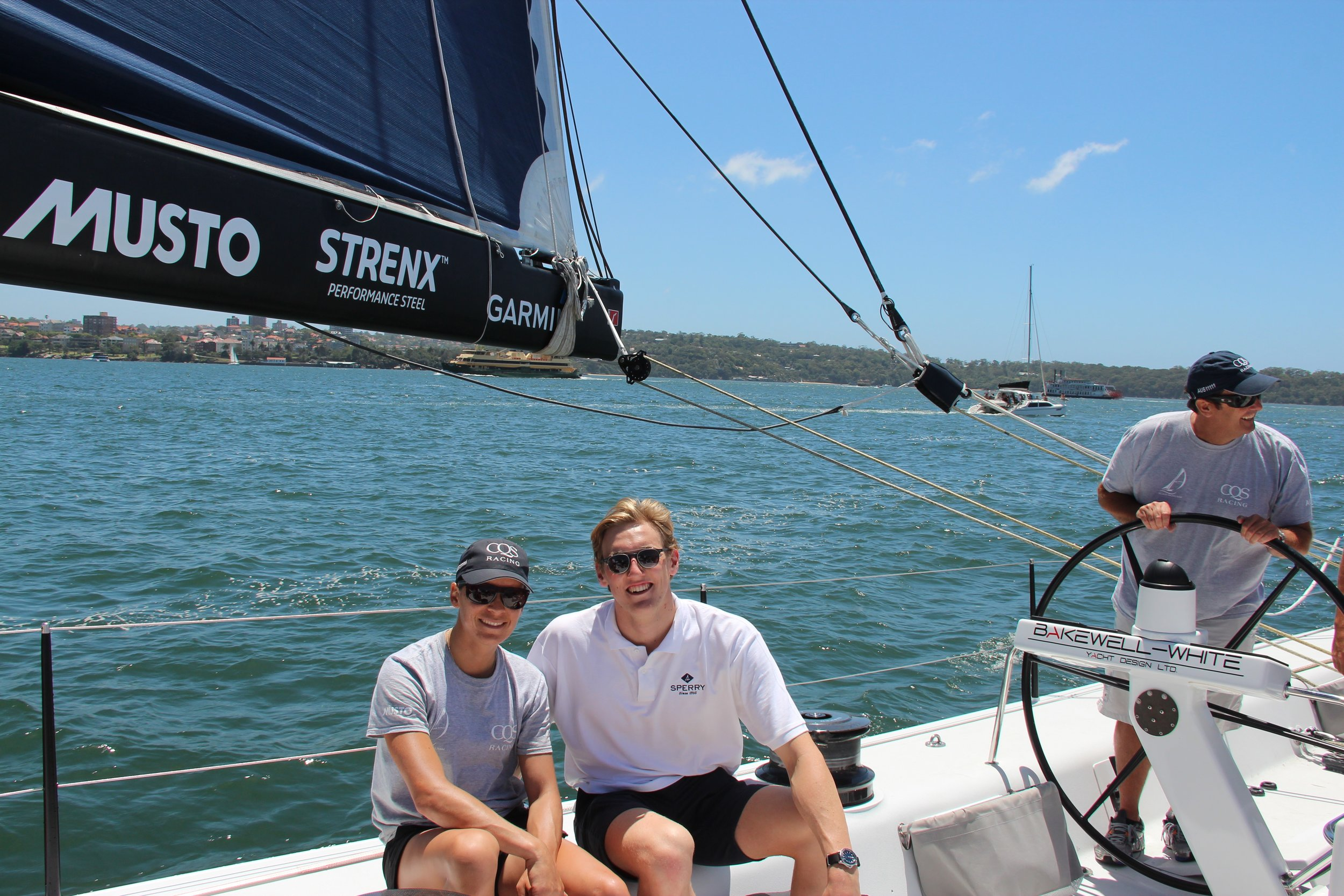 Olympic medalists Mark Horton and Crew member Jo Aleh on board CQS