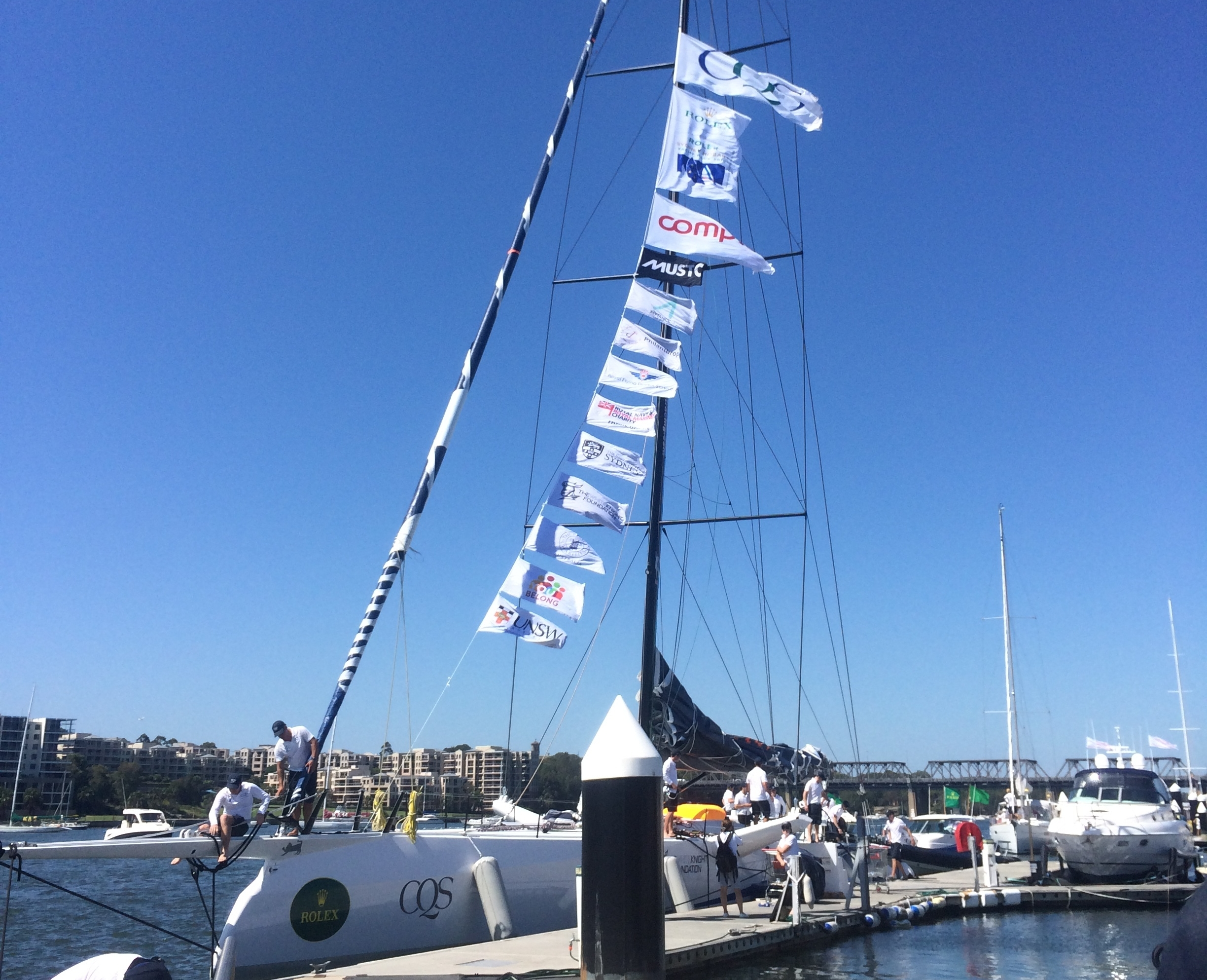 Flying the flags of our sponsors and charity partners