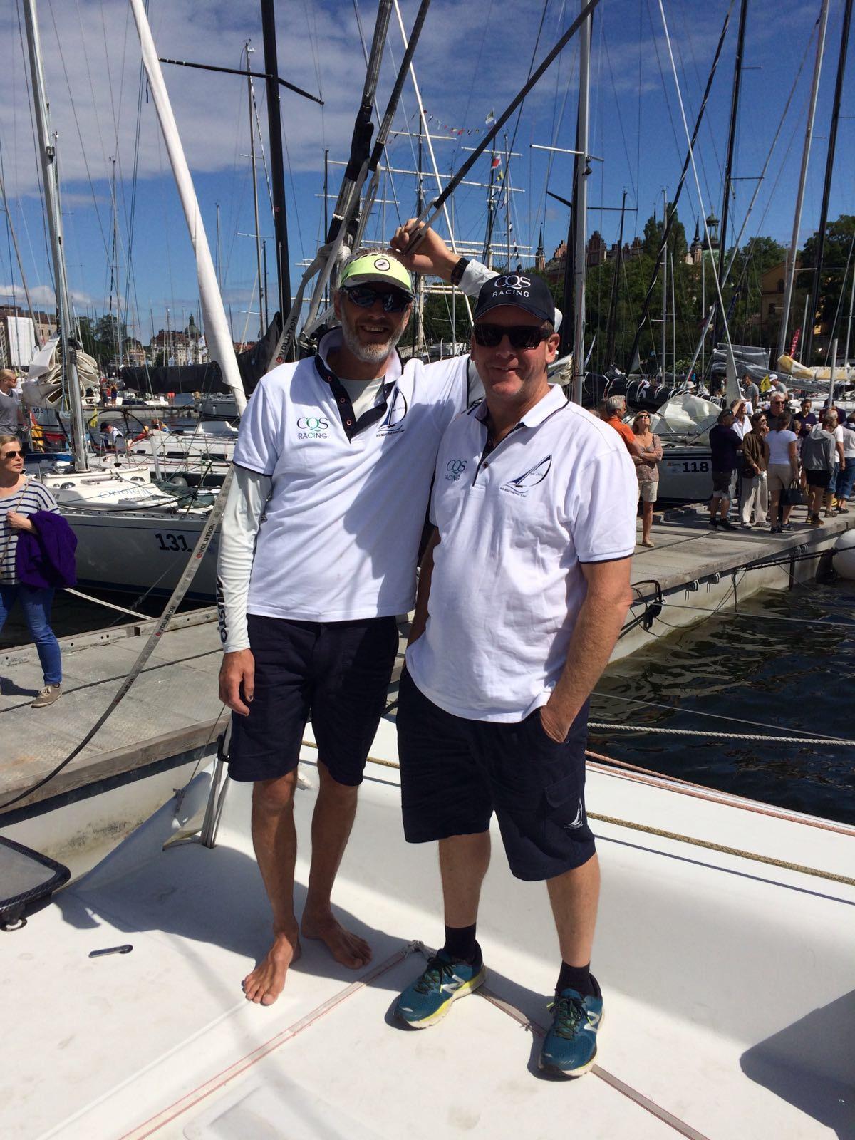 Crew Members Per Jonsson and Greg Prescott, former winners of the Gotland race, killing time ahead of the 2017 Gotland Runt.