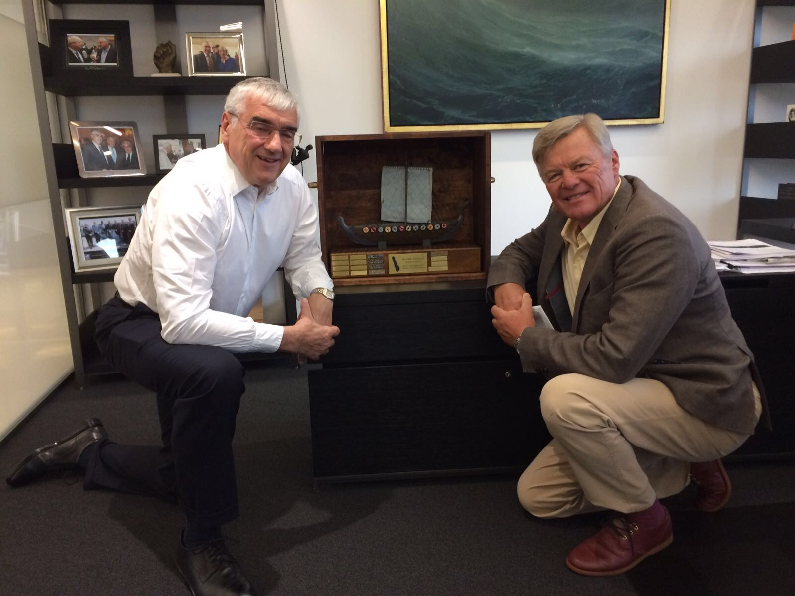 Sir Michael Hintze and Ludde Ingvall with the Alandia Suursaari Race Trophy