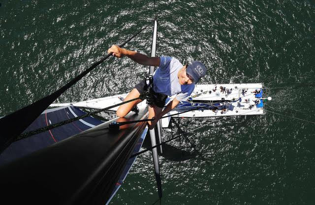 Jo Aleh 'Up the Mast' - Award winning image courtesy of John Feder (The Australian)