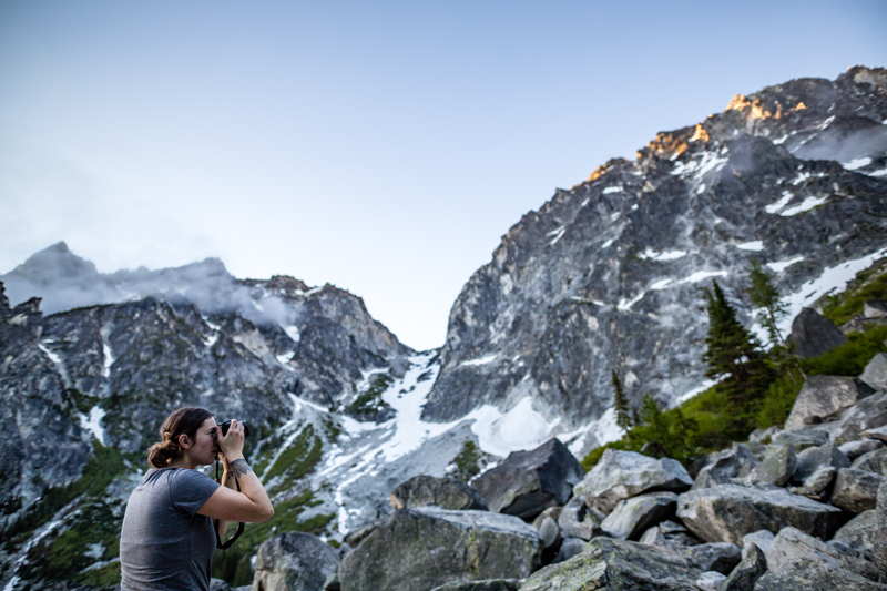 German Jenn shooting a little alpenglow with Aasgard pass in the distance