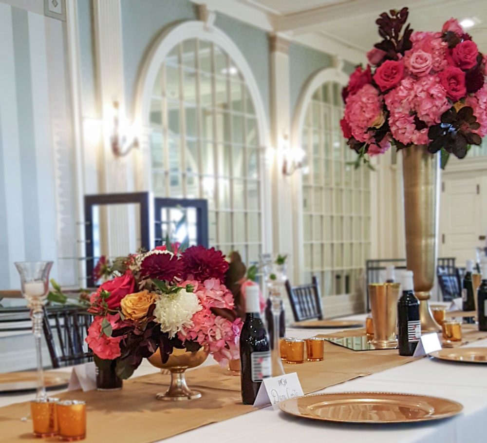 Burgundy, Pink and Gold Centerpieces - Tall and low hydrangea, roses and cotinus foliage