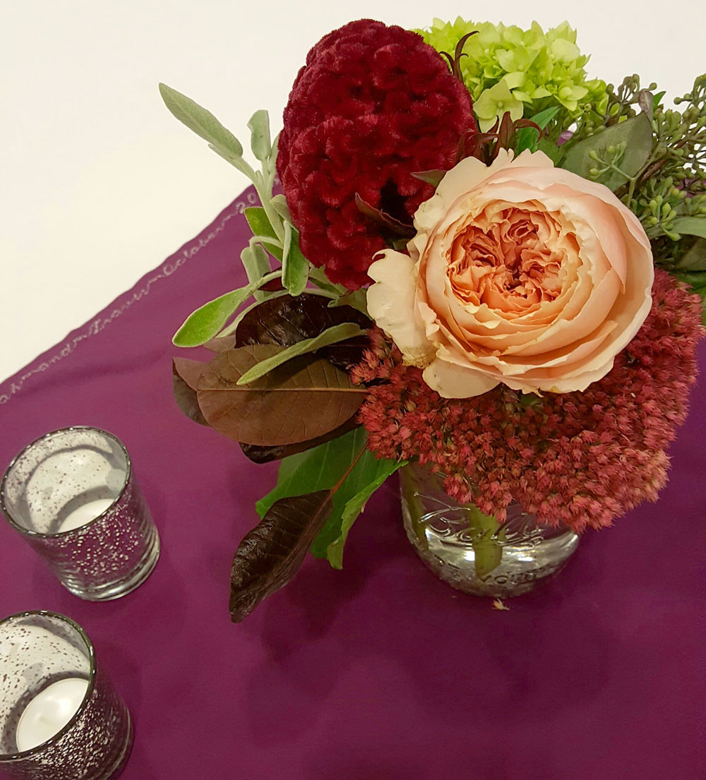 Autumn Joy Sedum and Garden Rose Centerpiece