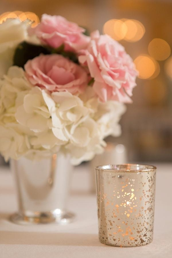 Pretty mercury glass votive holders mixed with silver julep cup