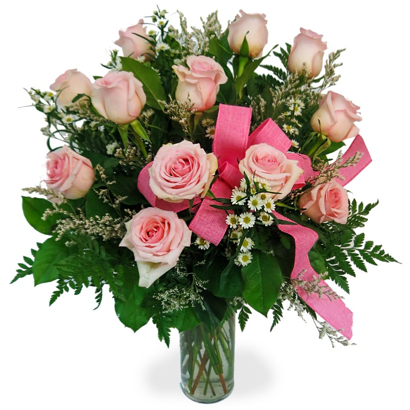 Pretty Pale Pink Dozen Rose Bouquet by Country Garden Florist.jpg