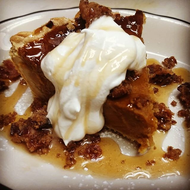 Sweet potato pie, chantilly, maple, praline bacon. #hotsuppa #portlandmaine #pralinebacon #sweetpotatopie #baconfordesert
