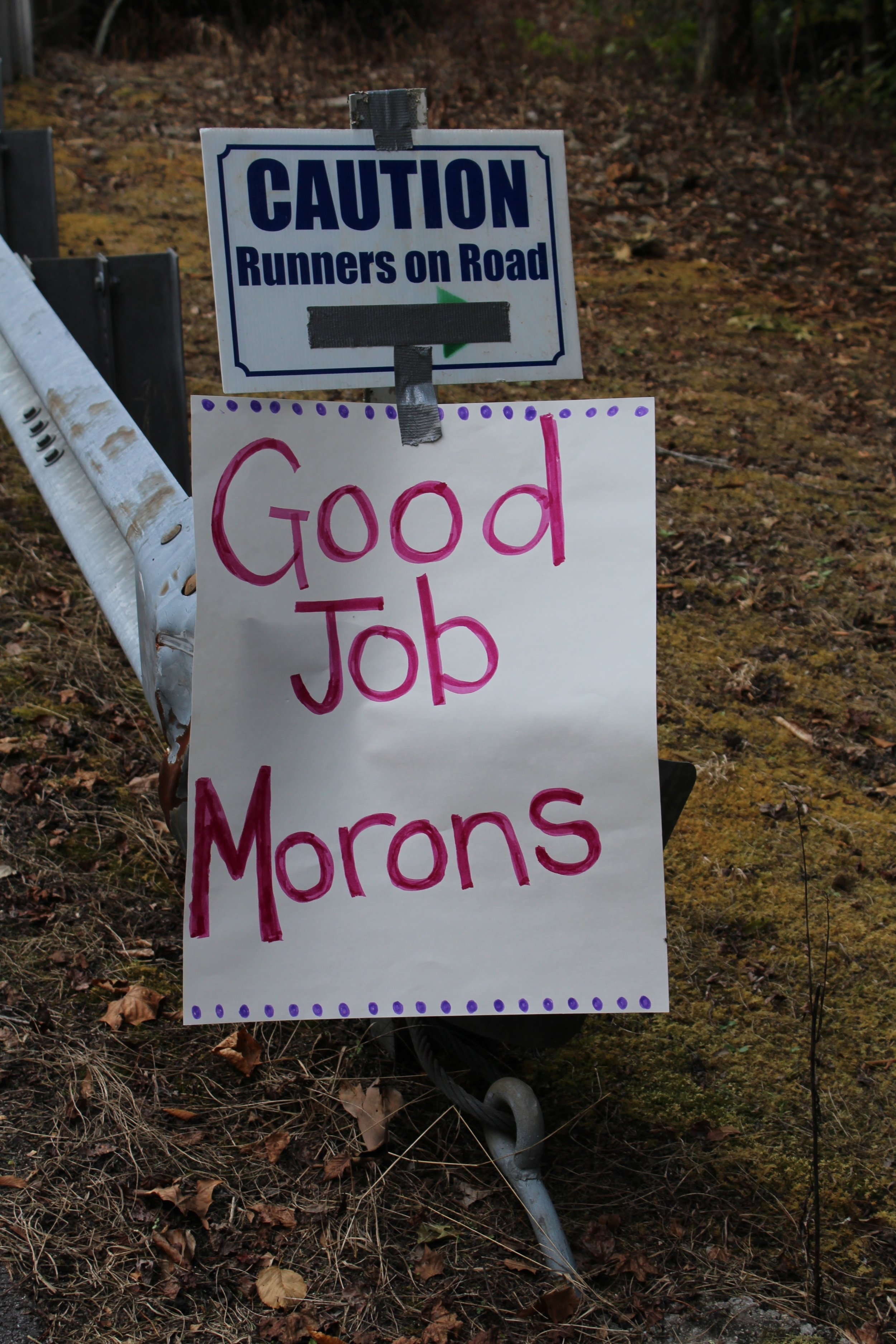 The last sign just before the finish - Photo by Susan Brother Yancey