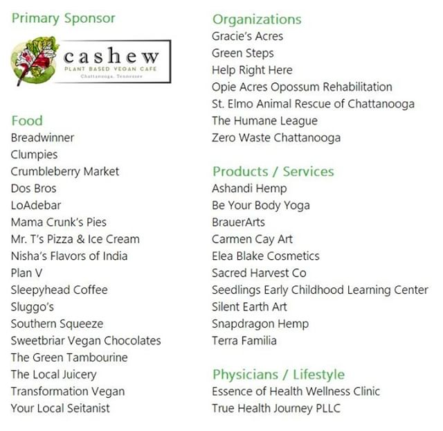 Check out this amazing list of partners joining us for ChattaVegan Fest 2019 on Saturday 10/19! Who is your favorite? And how many new businesses can you spot? We're so pleased to bring you such a fantastic combo of crowd-pleasers and rising stars!