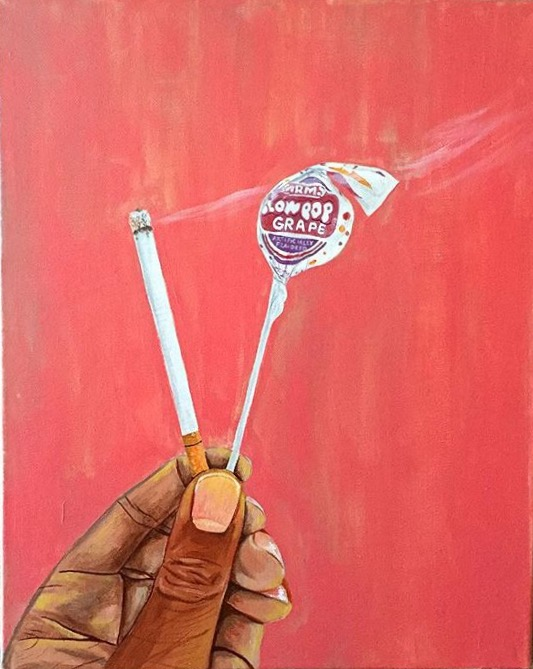"""Which one are you""   This image represents my conflicted feelings following a break up. This concept is represented abstractly by the contrast of a lit cigarette and a blow pop. Both can be acquired commercially, both offer a temporary sensation, and can be addictive in nature.  One is sweet and juicy, while the other marked dangerous and deadly. We all know their temporary satisfaction could potentially yield consequences, yet we can't get enough of either. Much like an unhealthy romantic relationship, temporary moments of bliss negate the dysfunctions of the relationship. This image begs the question, which vice would you choose?"