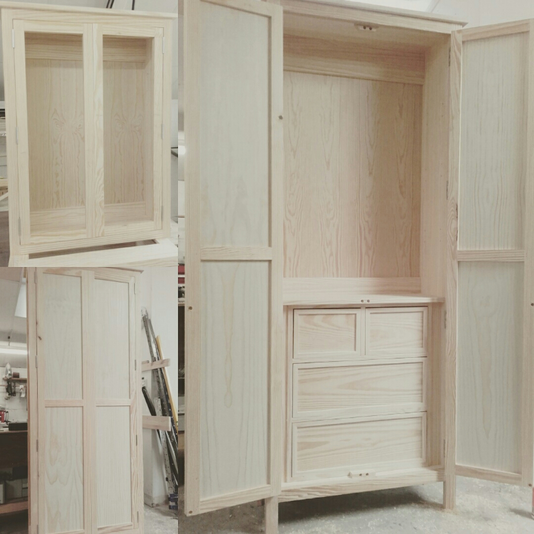 Solid pine units all ready for the paint shop