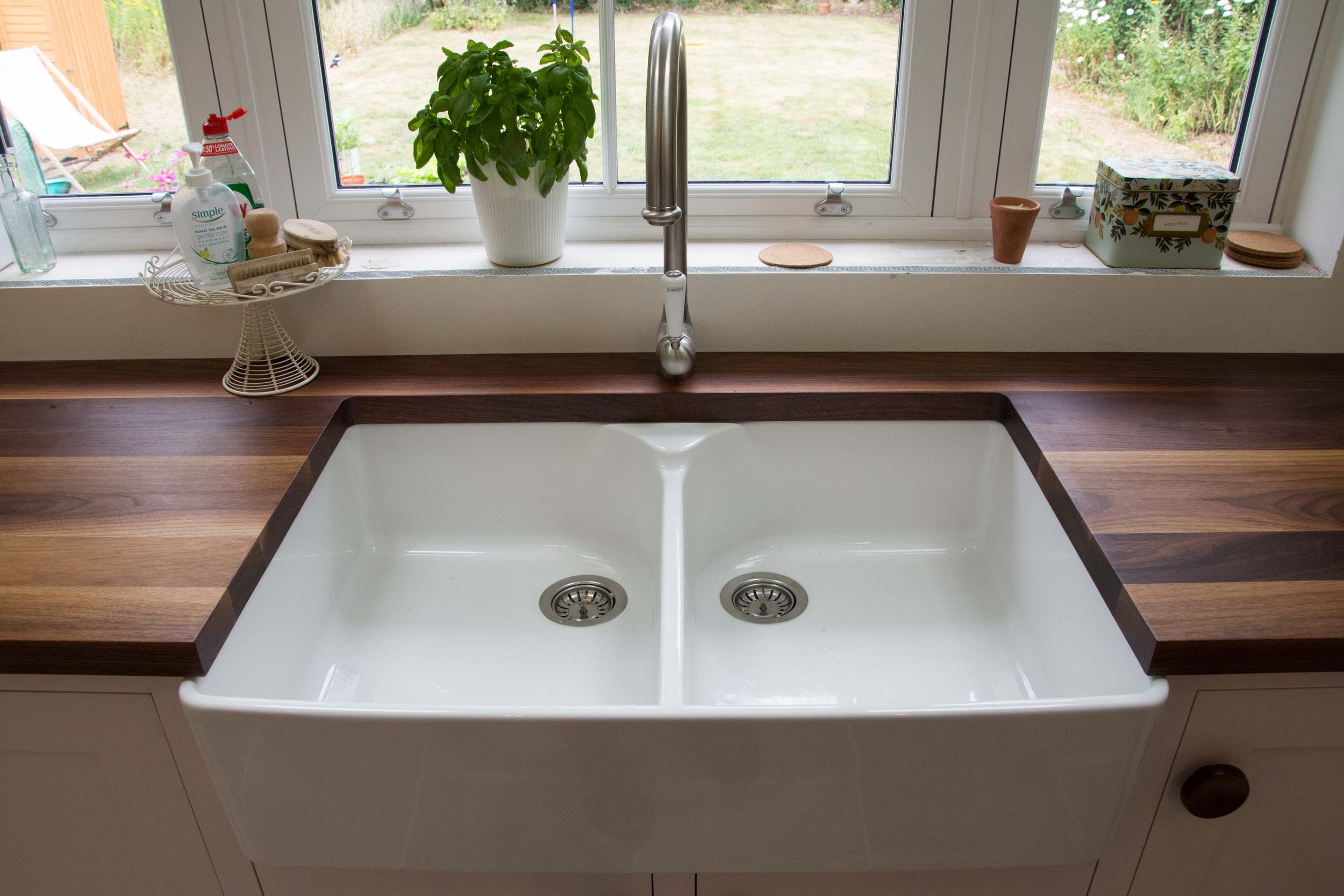 Butler sink in bespoke kitchen, Chestfield