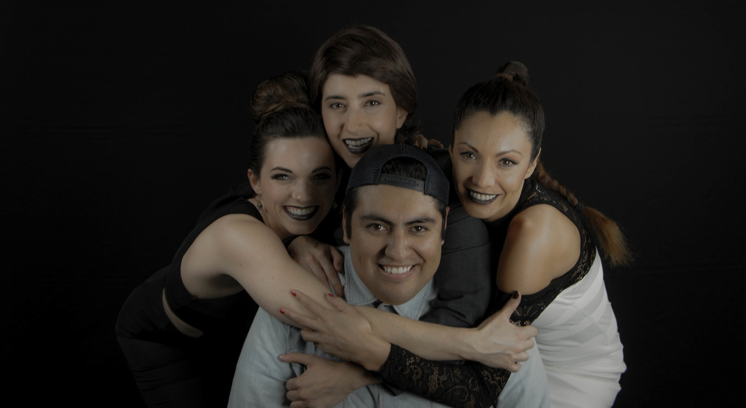Julia Cavanaugh ,  Malili Dib ,  Victoria Del Rosal  and  Jorge Xolalpa Jr. , on set of  Jezebel.