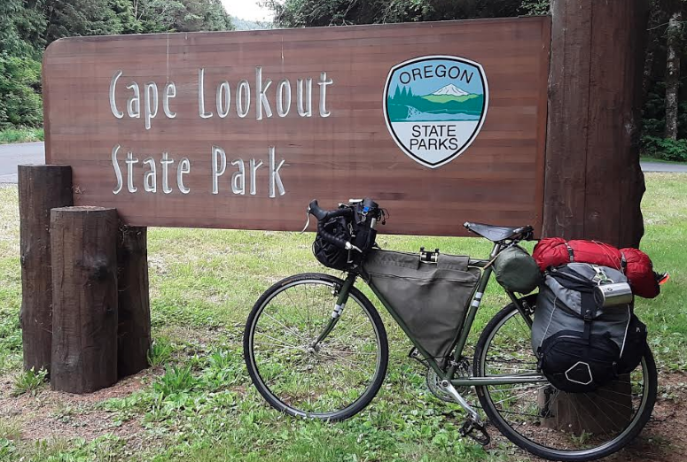 Bicycle-camping-at-cape-lookout-state-park-in-oregon