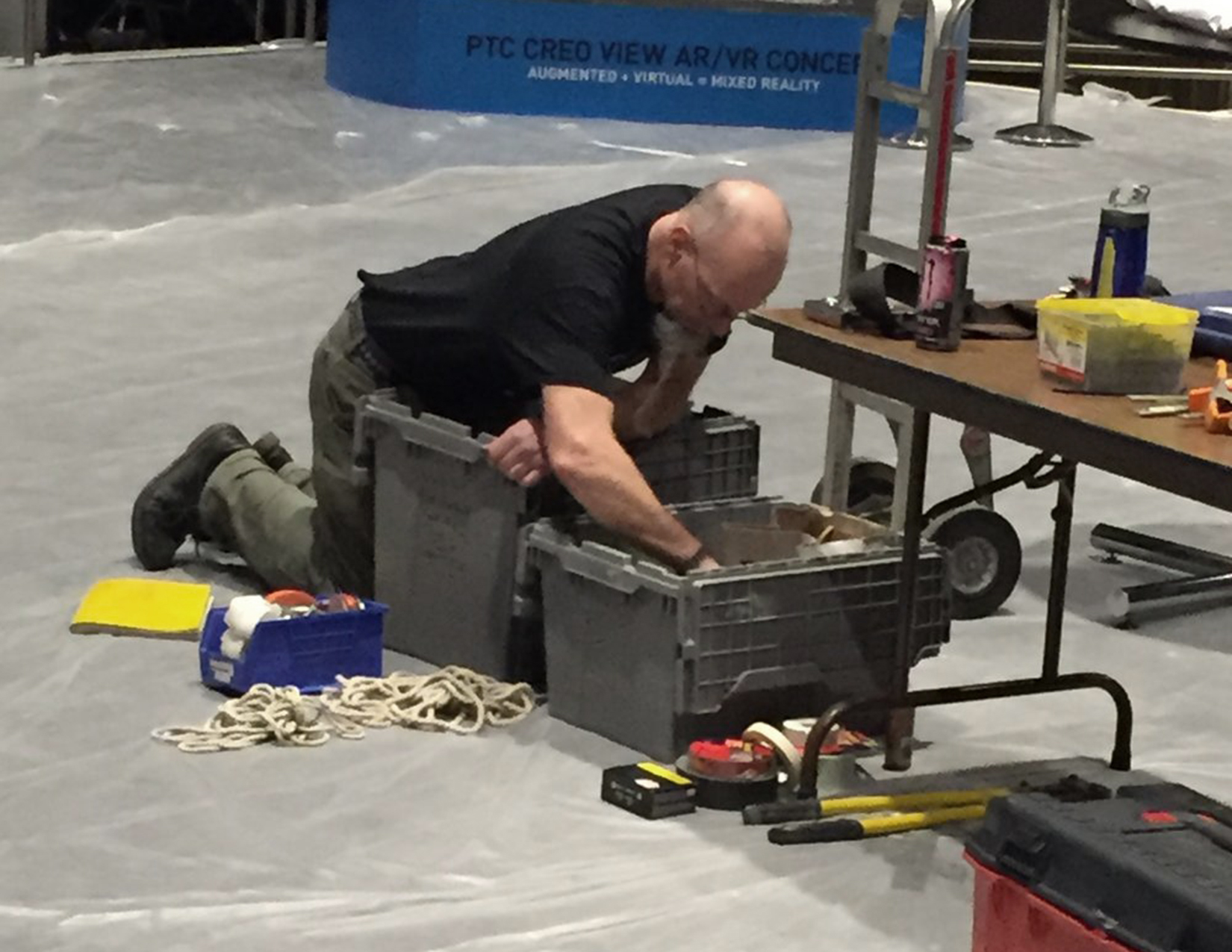 Doug rummaging for a part during install of the jet engine