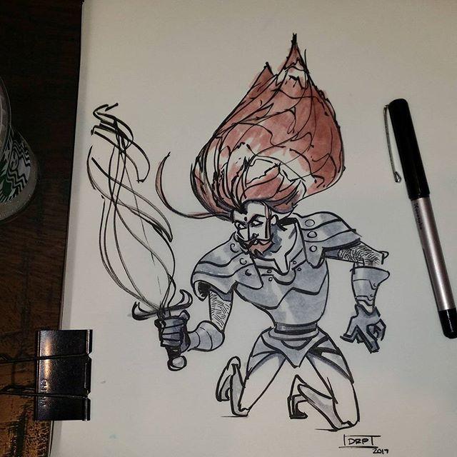 """What kind of sword is this?!"" . . . . . #drpicar #starbucks #coffeeshopdrawing #warrior  #drawing #facialhair #inkdrawing #kuretake #fudegokochi #brushpen #copic #marker #drawingoftheday #dailydoodle #weeklysketch #quicksketch #sketch #characterdesign #storytelling #doodle"