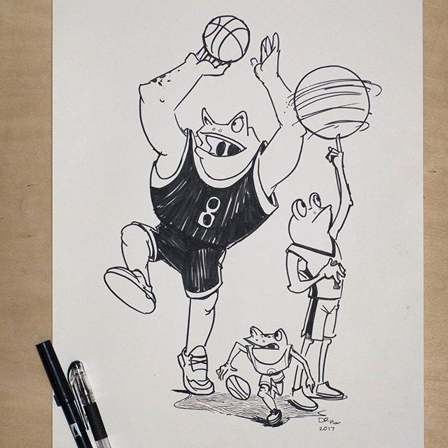 Basketball season is upon us! sketch requested by @kilano . . . #drpicar #frog #loveofbasketball #inktober2017 #inksketch #inktober #dailysketch #pentelpen #tombowbrushpen #artistsoninstagram