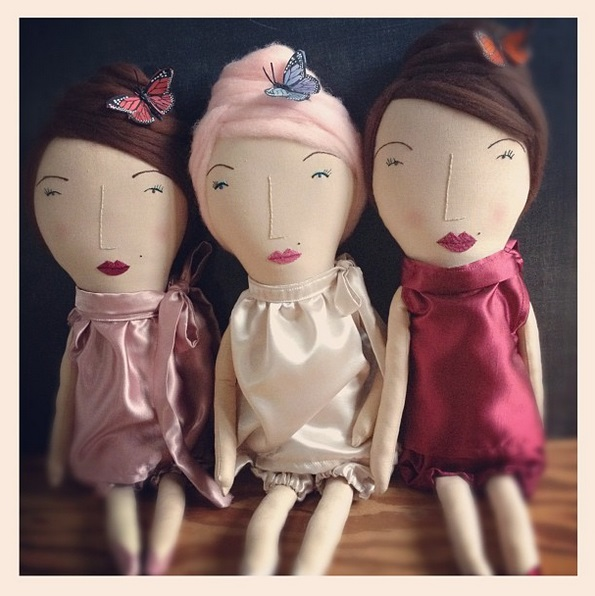 rag dolls with felted wool hair and satin bloomer outfits