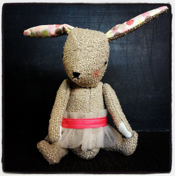 stuffed bunny with articulated arms, legs and head