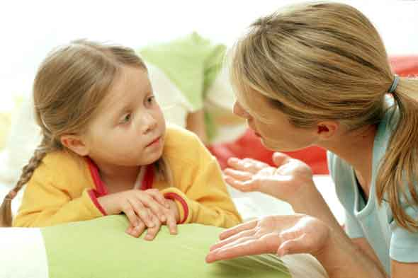 kid talking to mom